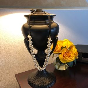 J. Crew Pearl Necklace with a Black Tie